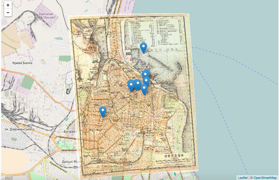 This is a picture of Odessa with a map overlaid current day Odessa.